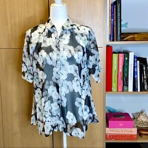 ASOS moody floral print sheer short sleeve top